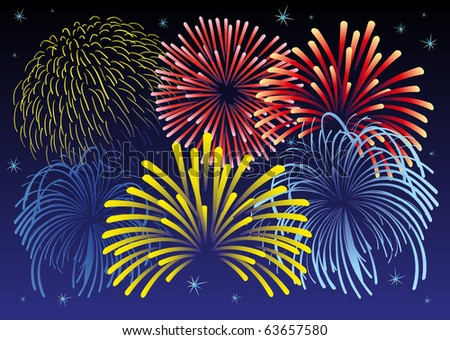 Vector illustration of firework and stars. All vector objects are isolated. Colors and transparent background color are easy to adjust. - stock vector