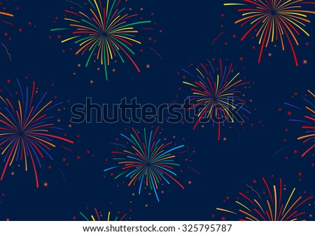 Vector illustration of fireworks on blue background. Seamless pattern. - stock vector