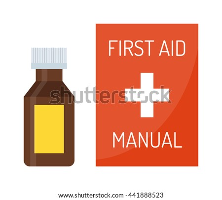 Vector illustration of first aid kit box medical emergency healthcare. Hospital first kit equipment and doctor case first aid kit. Safety accident bag first aid kit. Emergency medicine red box. - stock vector