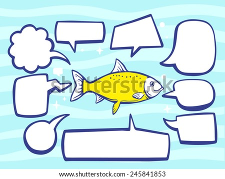 Vector illustration of fish with speech comics bubbles on blue pattern background. Line art design for web, site, advertising, banner, poster, board and print. - stock vector