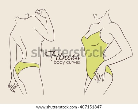 Vector illustration of fit slim sporty female figures. Body care and fitness. Brown and green colored set - stock vector
