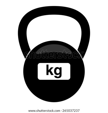 Vector illustration of fitness weight kettlebell icon. Black and white.  - stock vector
