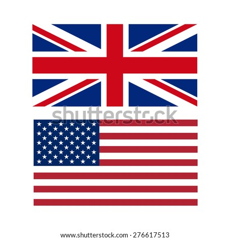 Vector illustration of flags of the US and UK - stock vector