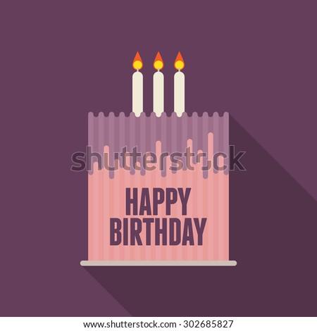 Vector illustration of flat birthday cake design element. - stock vector