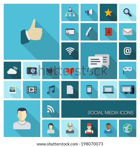Vector illustration of flat color icons with long shadow. Abstract social media background. Digital concept with like, speech bubble, avatar, computer, communication symbols for web, mobile app design - stock vector