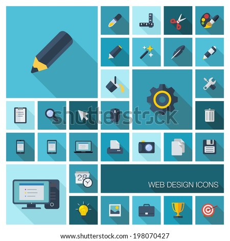 Vector illustration of flat color icons with long shadow. Graphic tools set for web, application development, computer, mobile apps, internet, interface design. Pencil, brush, cogwheel, grid symbol - stock vector