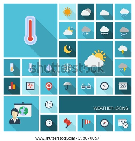 Vector illustration of flat color icons with long shadow.  Meteo set for web, computer, mobile apps, internet, interface design: weather cast, cloud, rain, snow, moon, thermometer, umbrella symbol. - stock vector