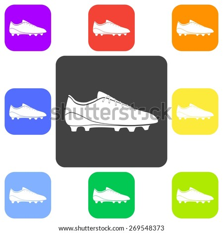 Vector illustration of flat color soccer shoes, american football boots icon set on white background. Button. - stock vector
