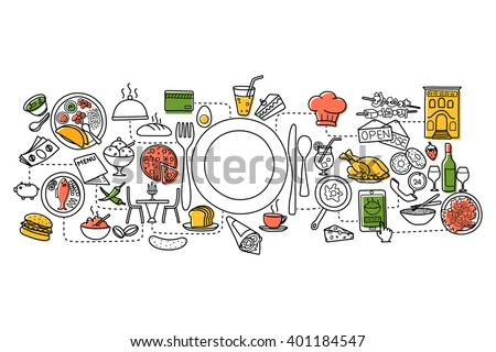 vector illustration of flat line art design of Food and Drink concept - stock vector