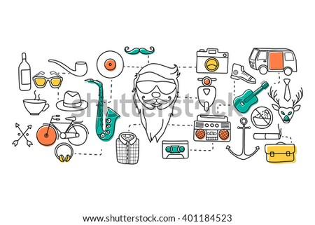 vector illustration of flat line art design of hipster concept for web design template - stock vector