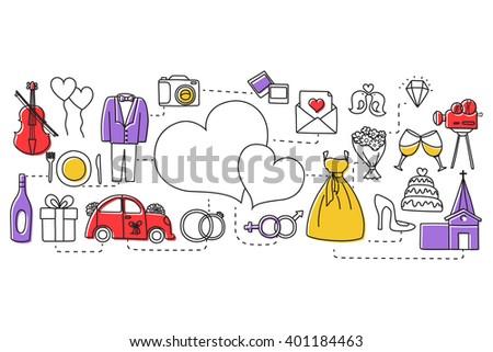 vector illustration of flat line art design of wedding concept for web design template - stock vector