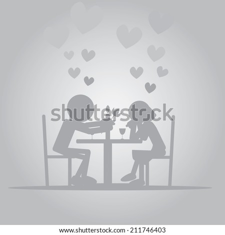 Vector illustration of flat man giving flower to a girl on candle light dinner - stock vector