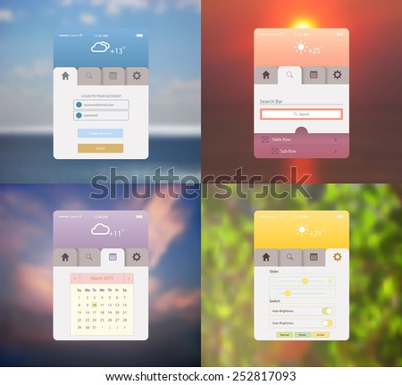vector illustration of  flat mobile UI design with blurred background. Web site template, user interface  elements set - stock vector