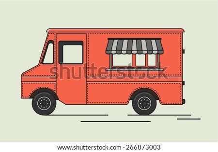 Vector illustration of flat retro truck - stock vector