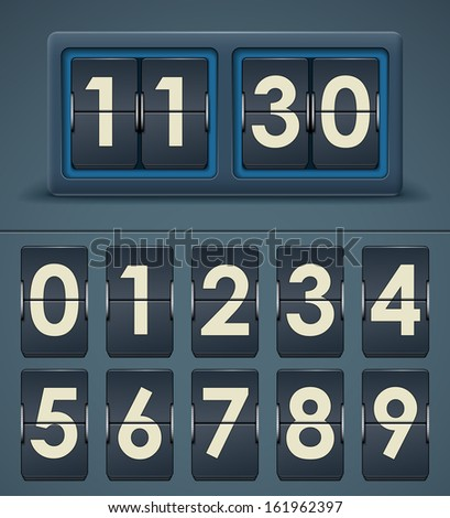 Vector illustration of flip clock table - stock vector