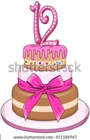 Vector illustration of 3 floors pink cake with the number 12 on top for Bat Mitzvah. - stock vector