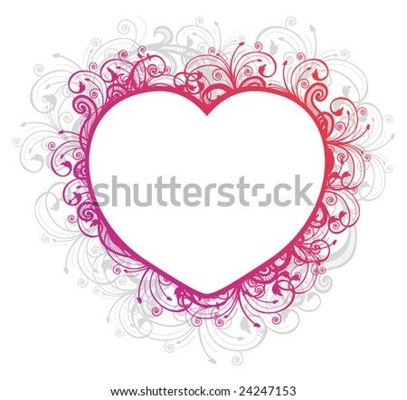 Vector illustration of floral heart frame over white background - stock vector