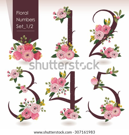 Vector illustration of floral numbers collection. A set of beautiful flowers and numbers for wedding invitations and birthday cards - stock vector