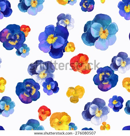 Vector illustration of floral seamless.Blue, red and yellow flowers on a white background, drawing watercolor. - stock vector