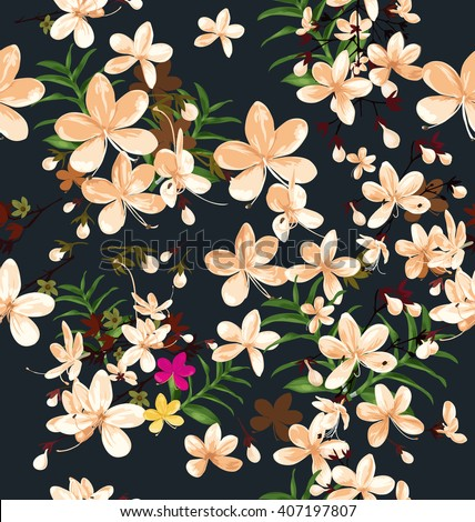 Vector Illustration of  floral seamless pattern - stock vector