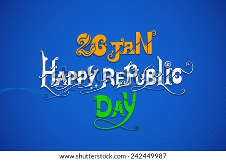 vector illustration of floral swirl in Indian tricolor flag for Happy Republic Day - stock vector