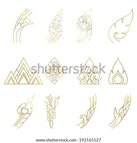 Vector illustration of flower set, line thai art - stock vector