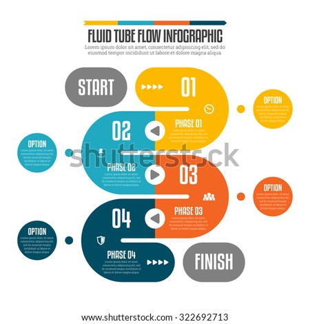 Vector illustration of fluid tube flow infographic design elements. - stock vector