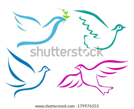 Vector illustration of flying dove  - stock vector