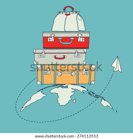 Vector illustration of flying paper plane around travel suitcases on planet background - stock vector