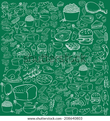 Vector illustration of food in doodle style, white on green - stock vector