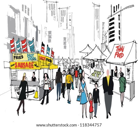 Vector illustration of food market and people , New York city. - stock vector