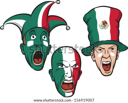 Vector illustration of football fans from Mexico. Easy-edit layered vector EPS10 file scalable to any size without quality loss. High resolution raster JPG file is included. - stock vector