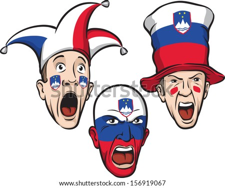 Vector illustration of football fans from Slovenia. Easy-edit layered vector EPS10 file scalable to any size without quality loss. High resolution raster JPG file is included.  - stock vector
