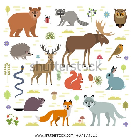 Vector illustration of forest animals: moose, deer, bear, hedgehog, rabbit, squirrel, beaver, wolf, fox, raccoon, owl, grass snake, isolated on transparent background. - stock vector