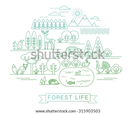 Vector illustration of forest life. Forest flora and fauna. Trendy graphic style. - stock vector