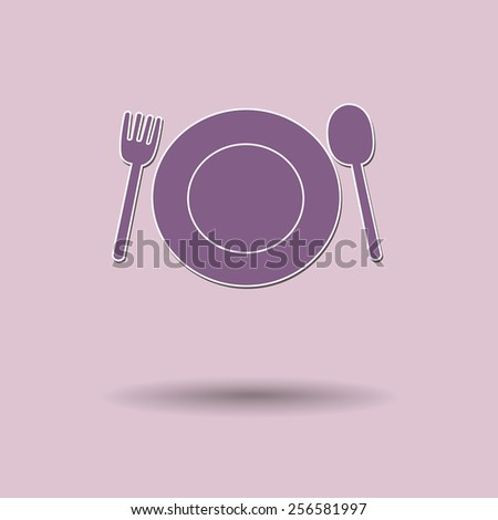 Vector illustration of  Fork plate spoon color background. - stock vector