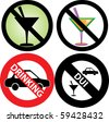 Vector Illustration of four No Alcohol or drinking while driving slash through Signs. See my others in this series. - stock vector