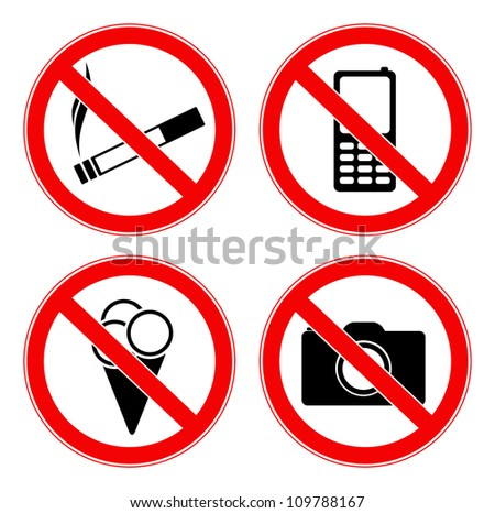 Vector illustration of four prohibited signs - stock vector