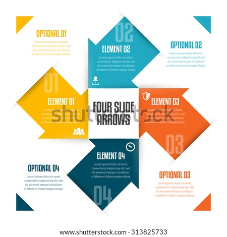 Vector illustration of four slide arrows infographic design element. - stock vector