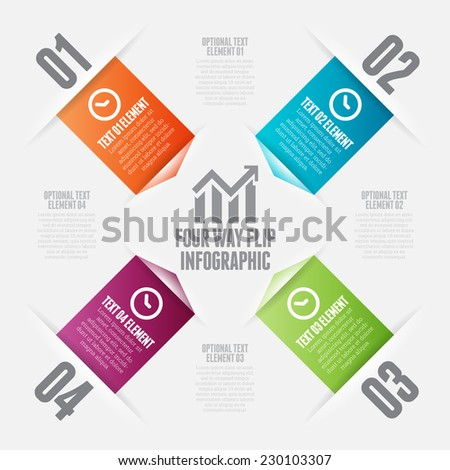 Vector illustration of four way flips infographic design elements. - stock vector