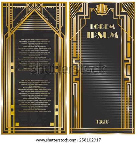 Vector illustration of frames, invitation cards templates in art deco style, rich golden color - stock vector