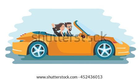 Vector illustration of friends traveling in a yellow cabriolet car. Men in glasses and women wave her hand - stock vector