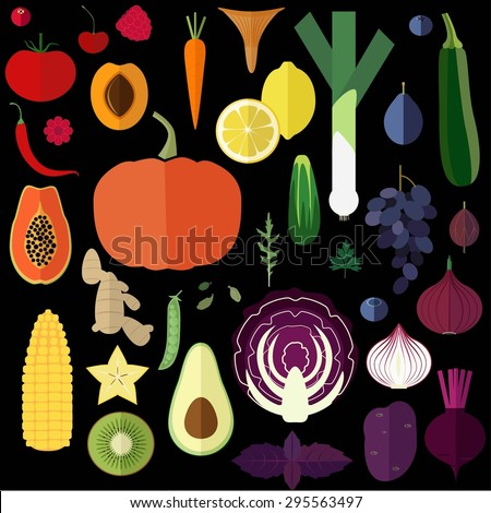 Vector illustration of fruits and vegetables in rainbow colors scattered on black background. - stock vector