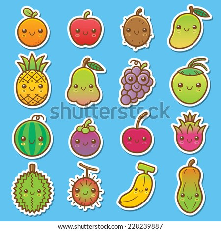 Vector Illustration of Fruits set - stock vector