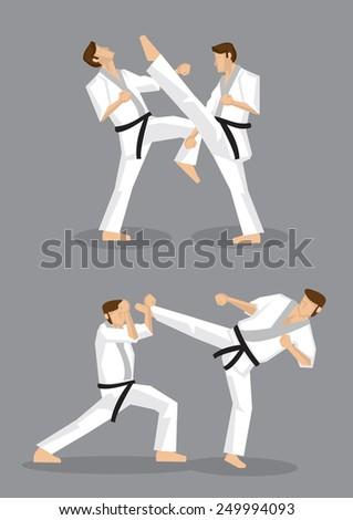 Vector illustration of full body karate black belt male fighter doing high kicks in karate training.  - stock vector