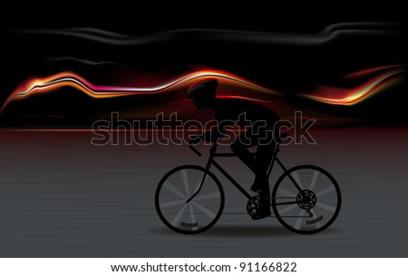 vector illustration of full speed bicycle rider silhouette with fiery background, raster version available - stock vector