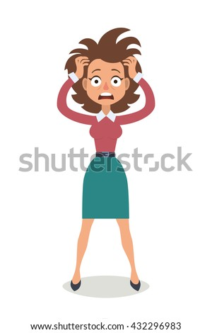 Vector illustration of funny brunette stressed woman with her hands on the head and wide opened mouth.  - stock vector