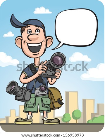 Vector illustration of Funny Photographer Speaking. Easy-edit layered vector EPS10 file scalable to any size without quality loss. High resolution raster JPG file is included. - stock vector