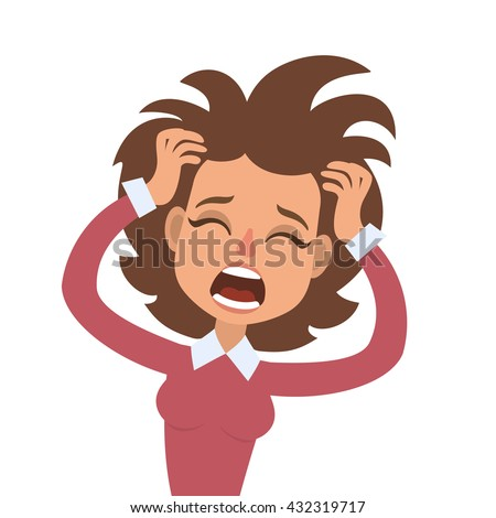 Vector illustration of funny screaming brunette woman with her hands on head and wide opened mouth - stock vector