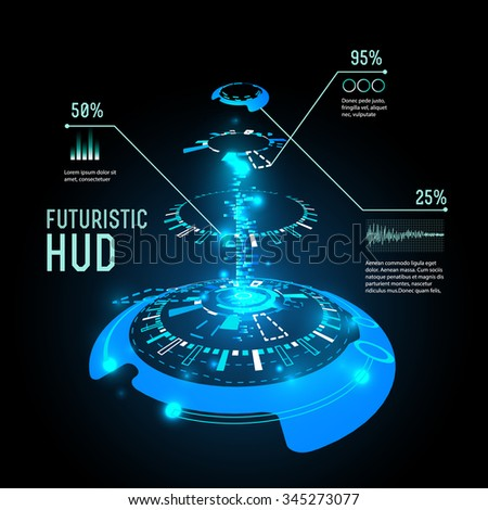 vector  illustration of Futuristic interface infographics, HUD,  vector background - stock vector